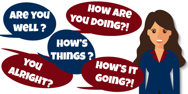 Different ways of asking 'how are you?' in English.